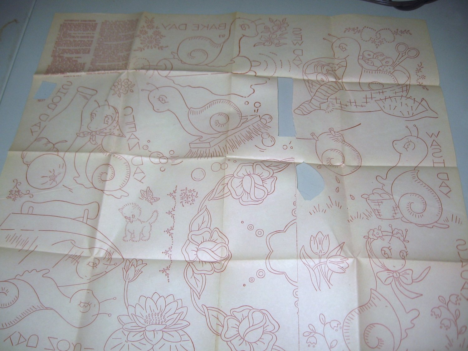 Days of Week Snail Hot Iron Transfer Plus Embroidery Designs
