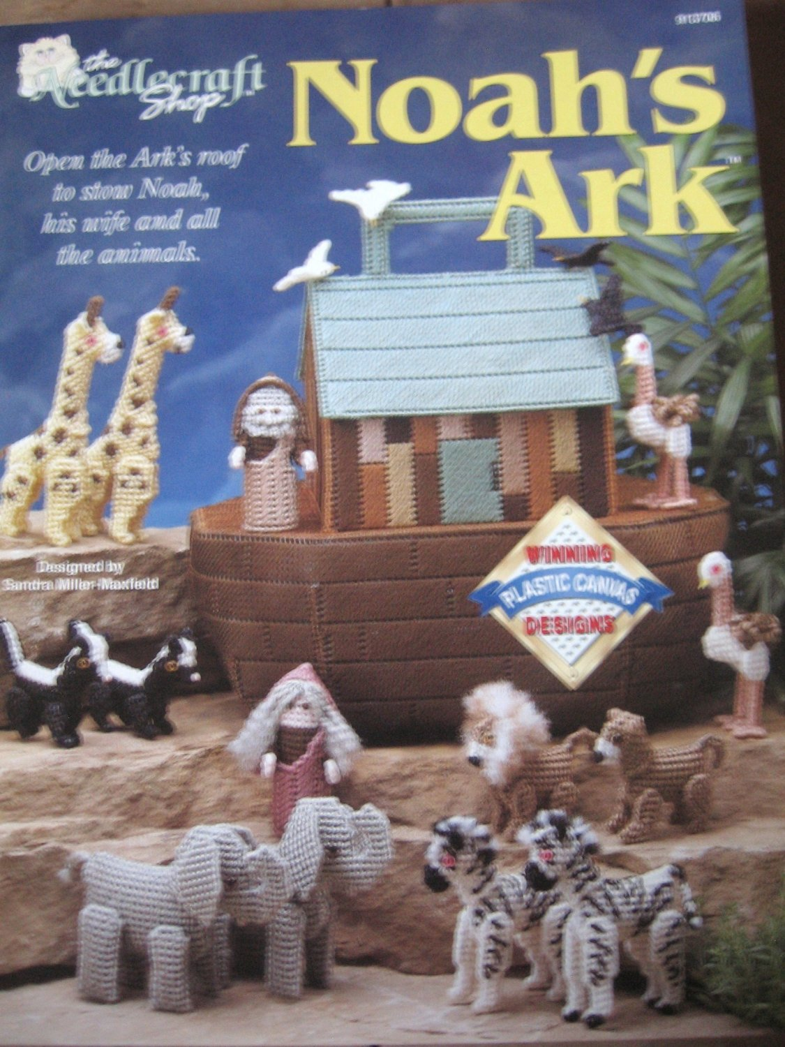 Plastic Canvas Noah's Ark Open roof to show Noah, his wife and the animals