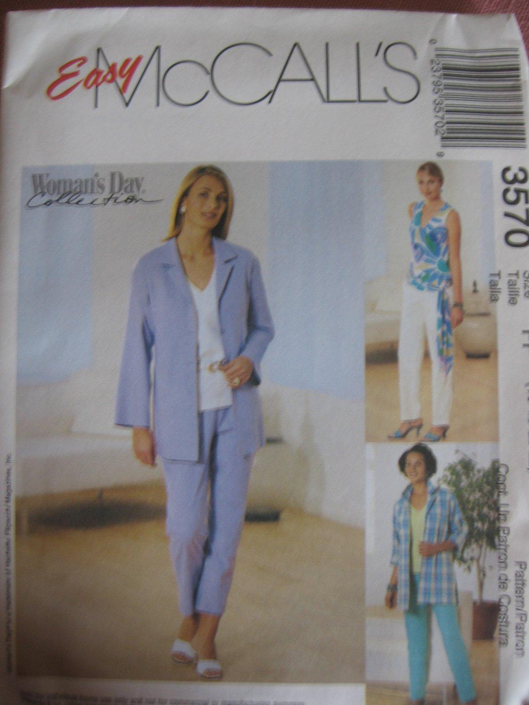 Capri Pants, Pants, Shirt, Jacket, Sash, Top McCall's 3570 Sewing Pattern 16 18 20 22 NEW