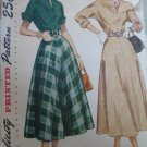 Vintage 40's Flared Skirt Dress Sewing Pattern Simplicity 2764 sz 14