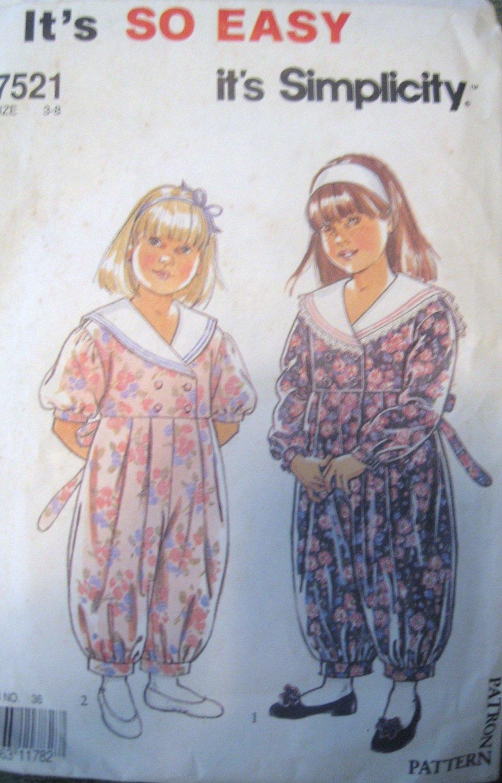 Girls Jumpsuit Sewing Pattern  Simplicity no.7521 size 3-8 Uncut