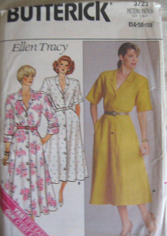Butterick 3723  Front Button Shirtdress Sewing Pattern, Sizes 14, 16, 18 uncut