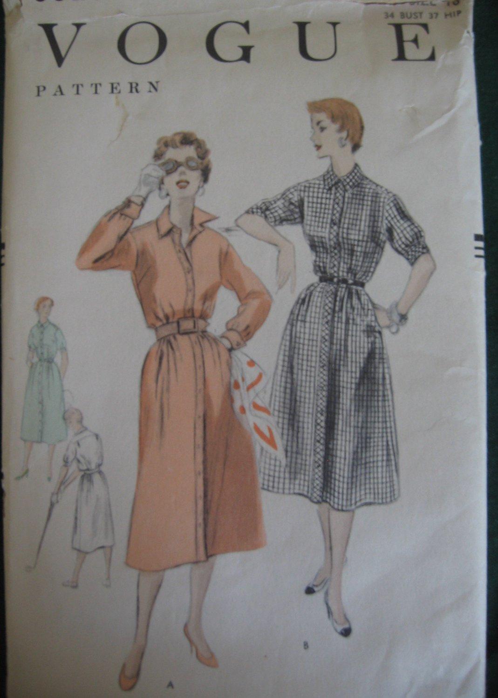 Vintage 50's Vogue Button Down Front Shrit Dress Pattern no. 8325 Size 16 unused