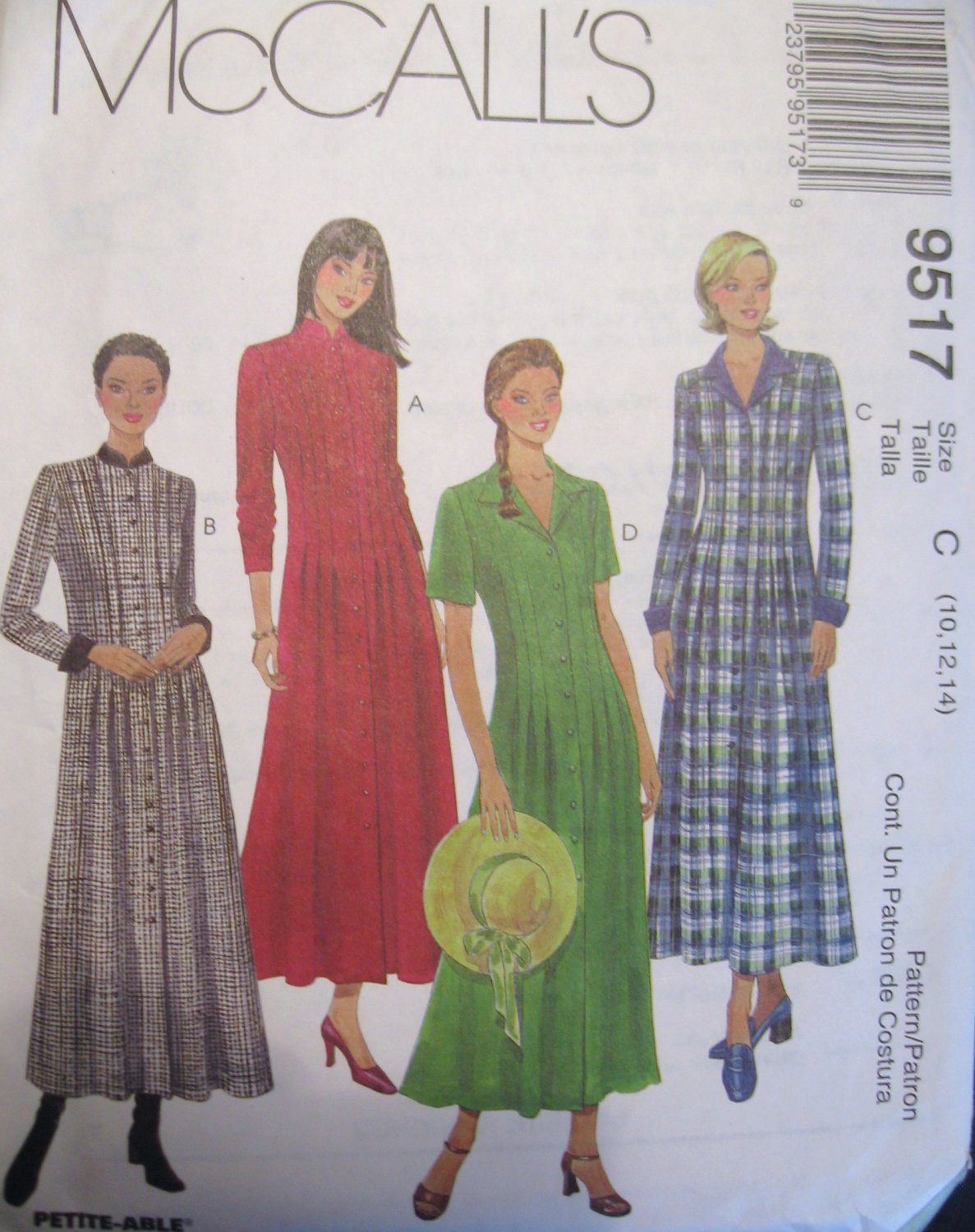 McCall's Misses' Front Buttoned Long Dress Sewing Pattern no.9517 Size 10 12 14 Uncut