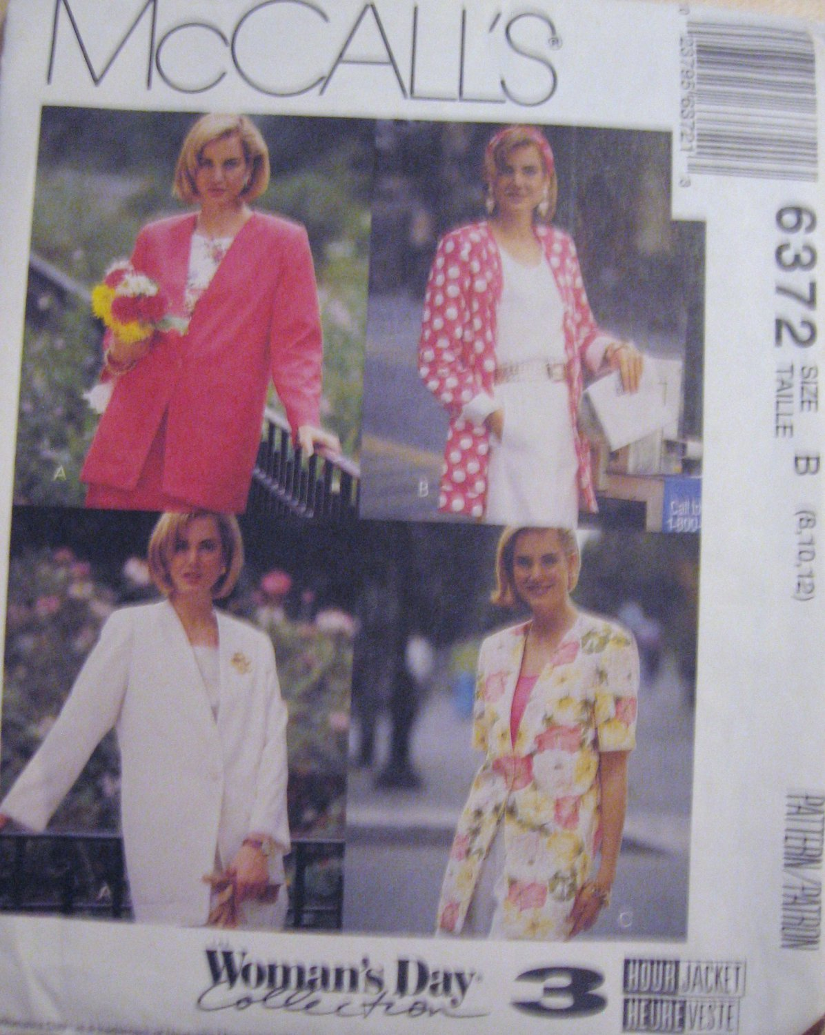 McCall's  Misses' Unlined Jacket Sewing Pattern no.6372 Size 8, 10, 12  Uncut