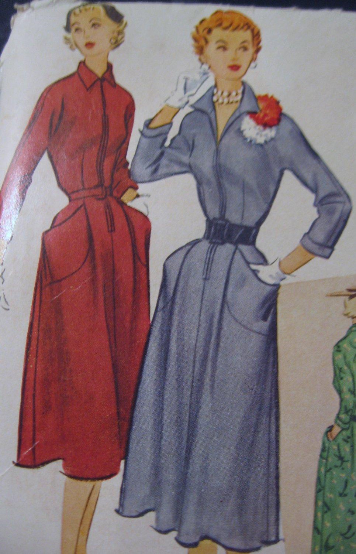 Vintage Front Zipper Dress Sewing Pattern McCalls No. 9065 Sz 18