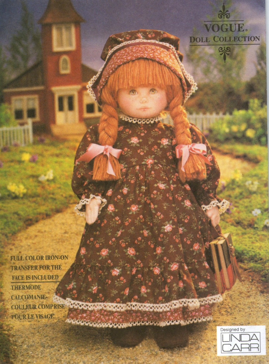 """Vogue 8336 18"""" Early American Doll & Clothes Sewing Pattern with color face transfer"""