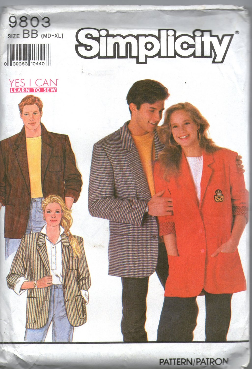 Simplicity 9803 Unisex Loose Fitting Lined Jackert Sewing Pattern Chest / Bust 38 - 48 Uncut