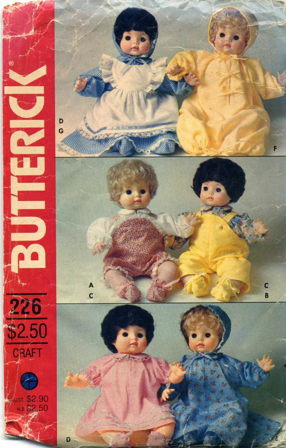 """18"""" Baby Doll Clothes  Sewing Pattern  Overalls Dress Bunting Pinafore Hat Booties Butterick 226"""