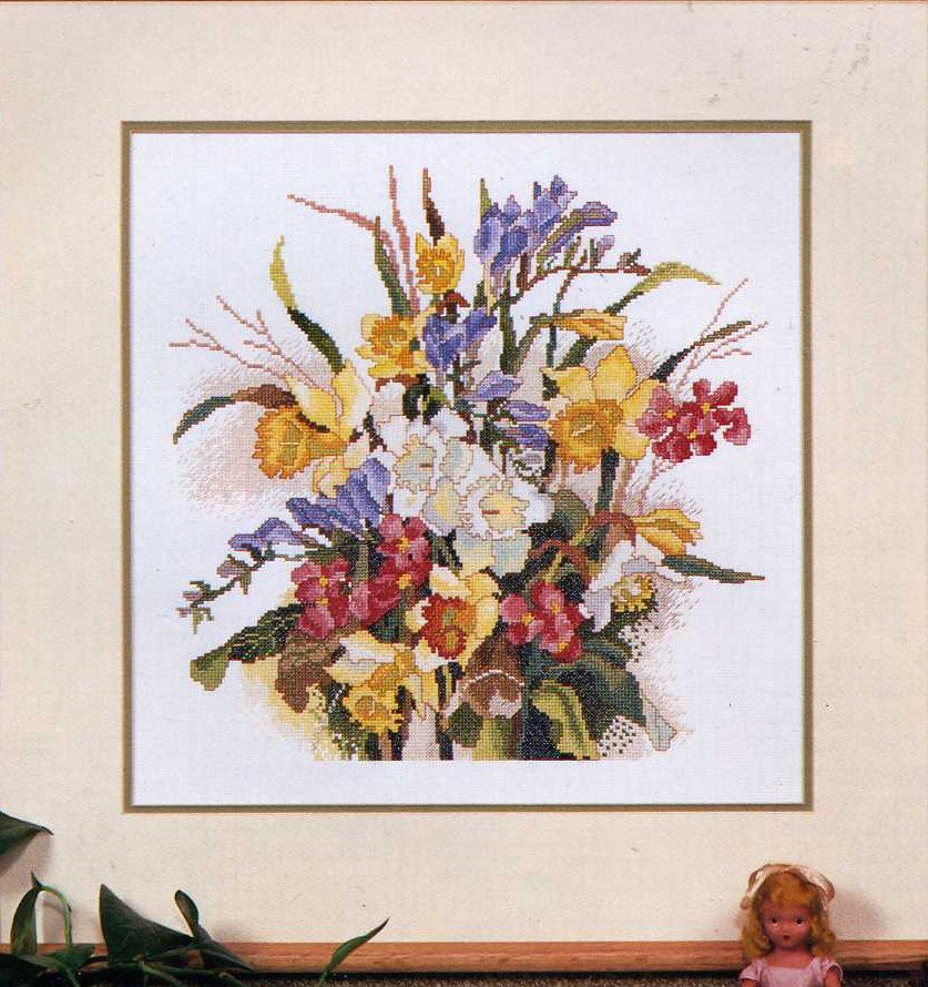 Spring Cross Stitch Pattern by Ginger and Spice Flower Bouquet