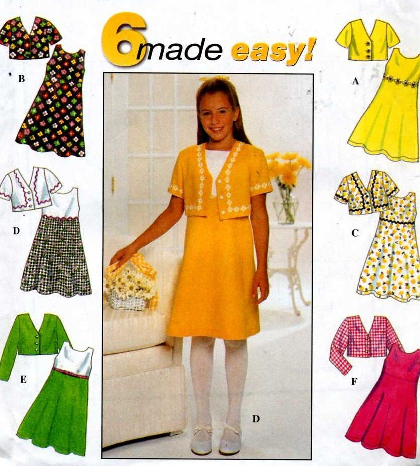 Girls Dress and Jacket Sewing Pattern with 6 versions Sizes 7 8 10 Simplicity 7463 Uncut