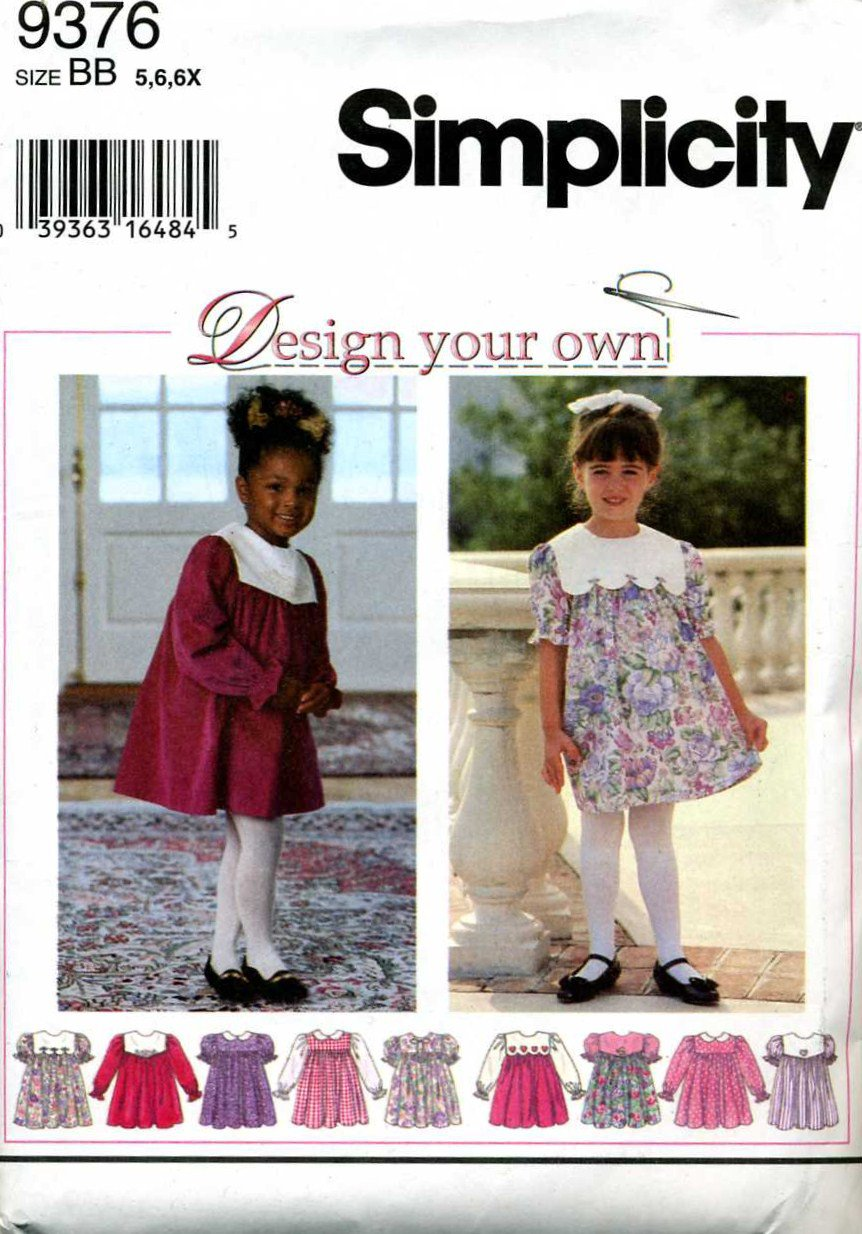 Girls Dress Sewing  Pattern  size 5 - 6x  - Uncut - Simplicity 9376