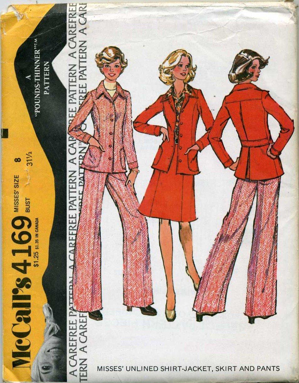 "McCall's  Unlined Shirt Jacket, Skirt & Pants Sewing Pattern no.4169 Size 8, Bust 31 1/2""   Uncut"