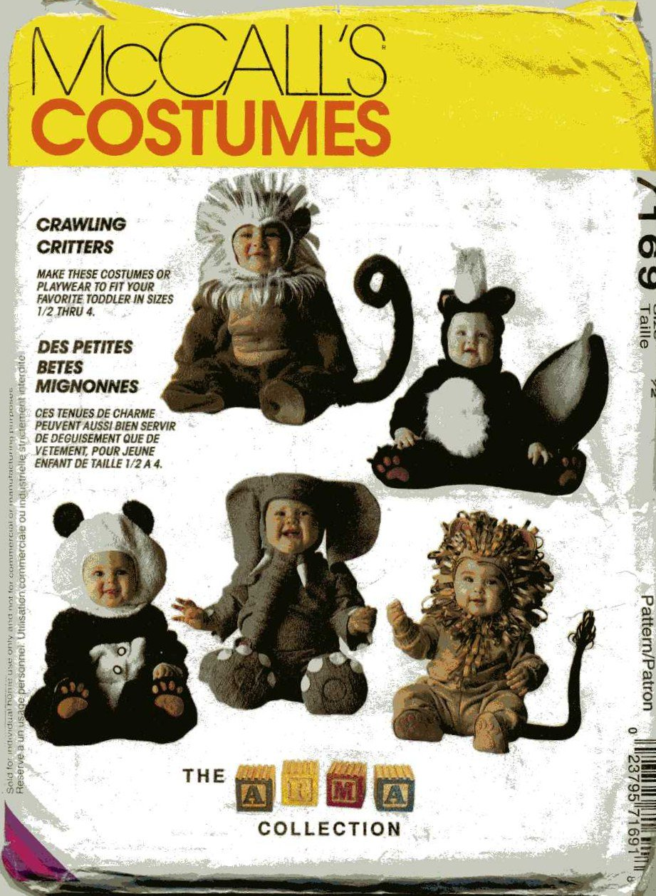 Toddler Skunk, Lion, Monkey, Elephant, Panda Costume  Sewing Pattern McCalls 7169,  Size 1/2,  Uncut