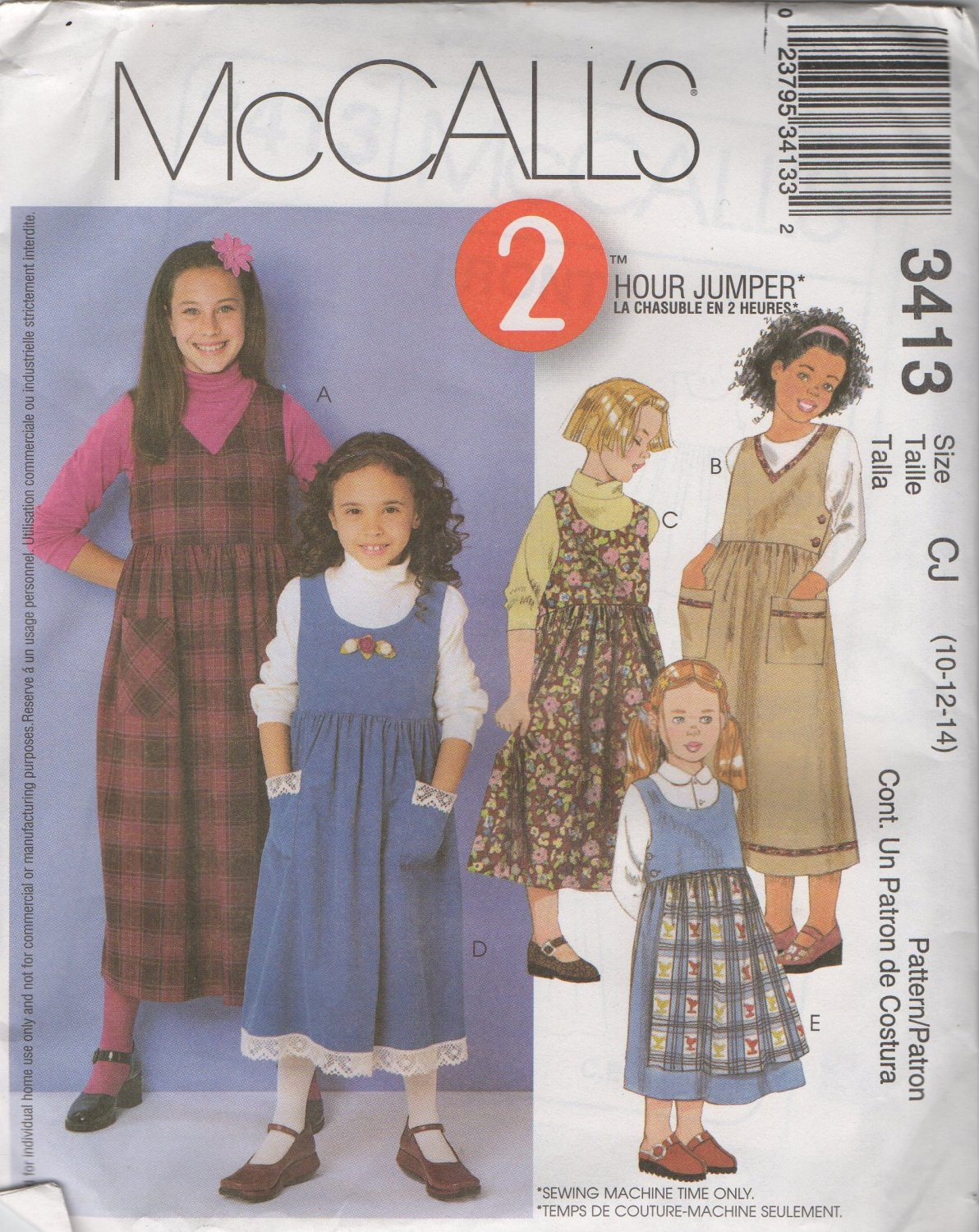 McCall�s  3413 Girls� Jumper and Contrasting Apron Sewing Pattern Size 10, 12, 14 uncut