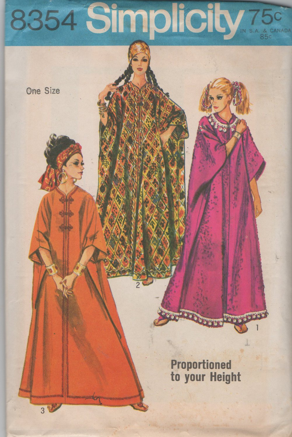 One Size Proportioned to Height Caftan  Sewing Pattern  Simplciity 8354, Uncut, only 4 pieces