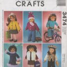 "18""  Doll  Clothes  Sewing Pattern  McCalls 3474 , Uncut"