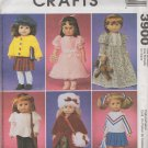 "18""  Doll  Clothes  Sewing Pattern, Dress, Coat, Nightgown, Top, Cardigan  McCalls 3900 , Uncut"