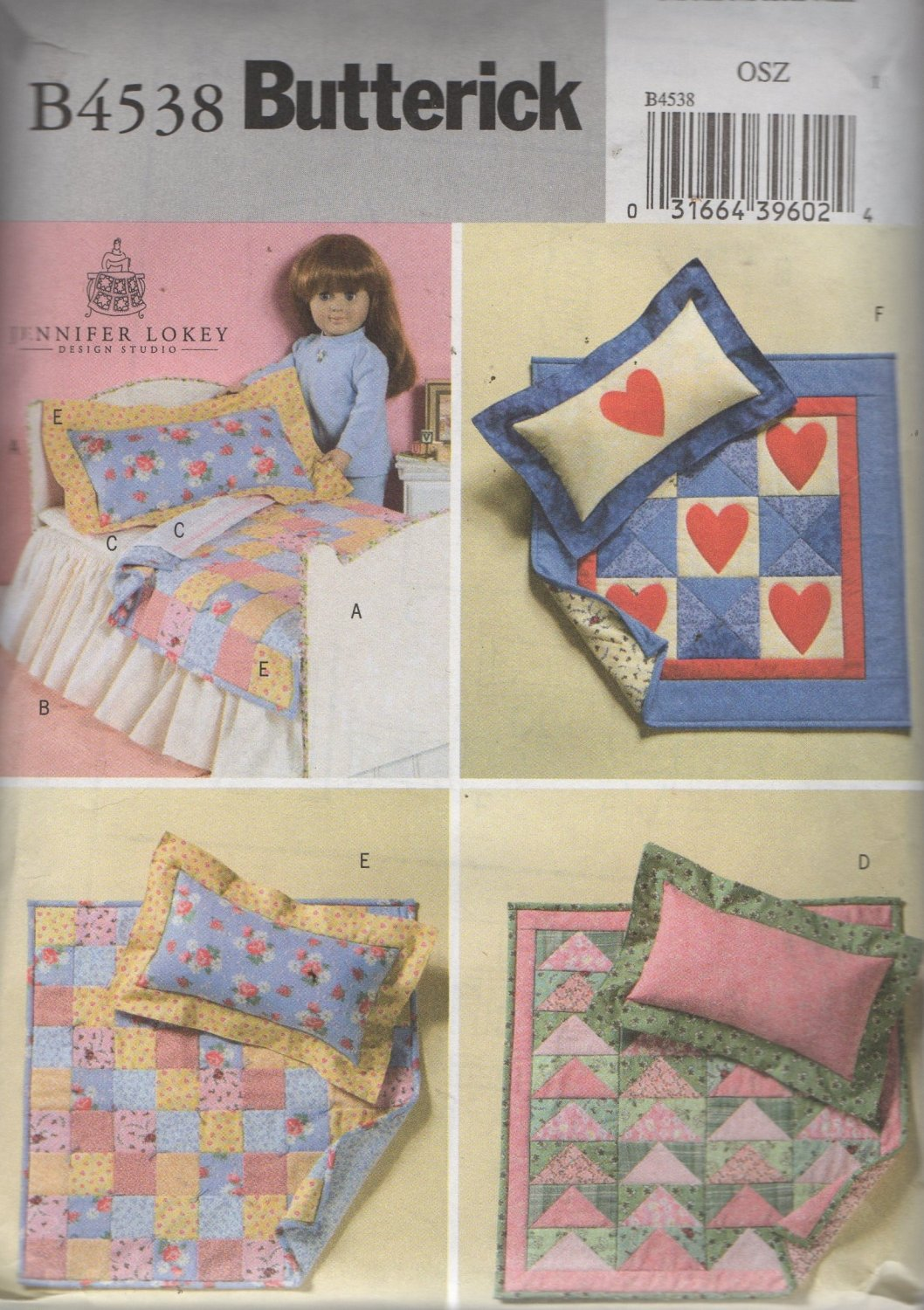 """18""""  Doll Bed and Quilts Sewing Pattern   Butterick 4538 Uncut"""