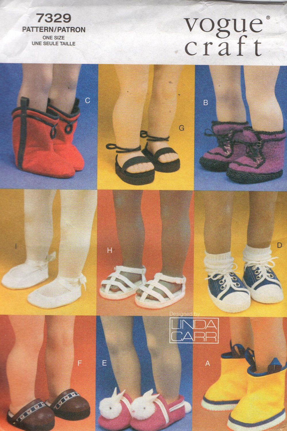 """Shoes, Boots, Slippers, Sneakers and Sandles for 18""""  Doll  Sewing Pattern, Vogue 7329, Uncut"""
