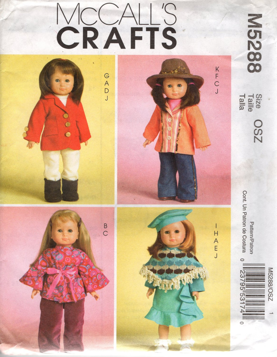 """18""""  Doll Clothes Sewing Pattern Hippie Top, Riding Pants Poncho Beret Boots Hat McCalls 5288"""