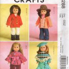 "18""  Doll Clothes Sewing Pattern Hippie Top, Riding Pants Poncho Beret Boots Hat McCalls 5288"