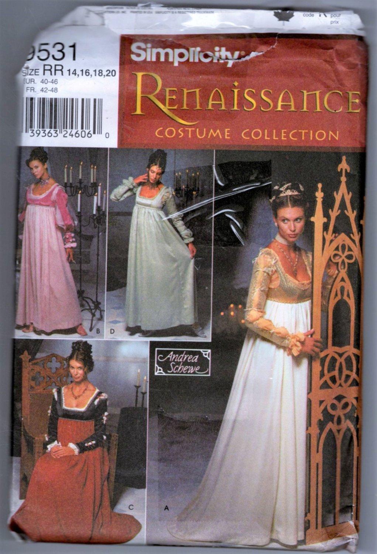Misses Adult Renaissance Costume Sewing Pattern Simplicity 9531 Sizes 14 16 18 20  Uncut