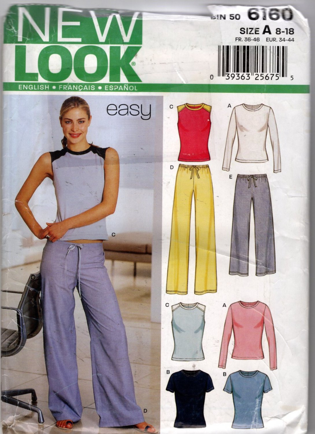 Pull On Pants and Top Sewing Pattern Simplicity New Look 6375 size 8 - 18 Uncut