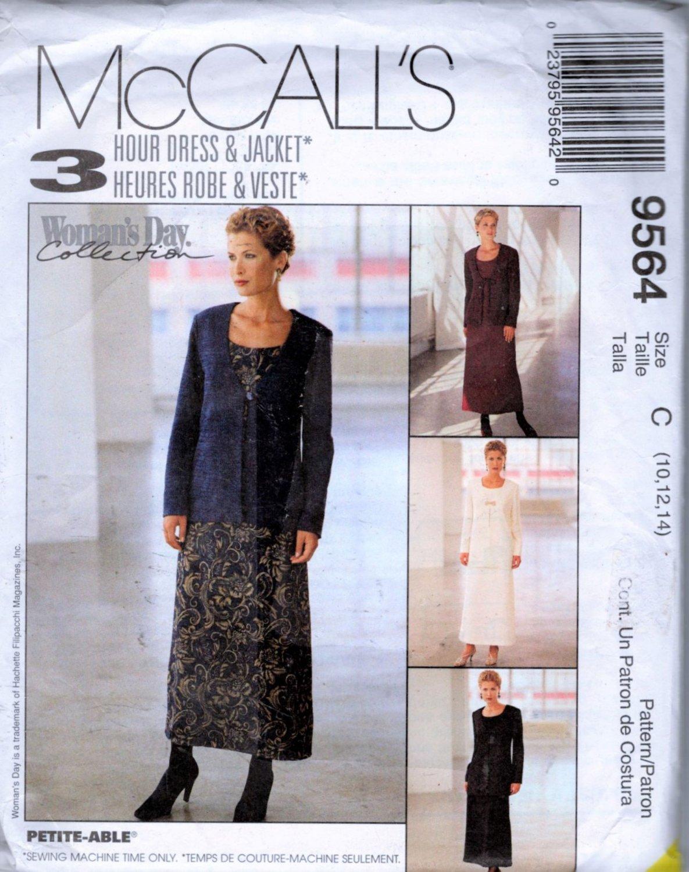 Misses Dress & Jacket Sewing Pattern McCalls 9564  Size  10 12 14  Uncut