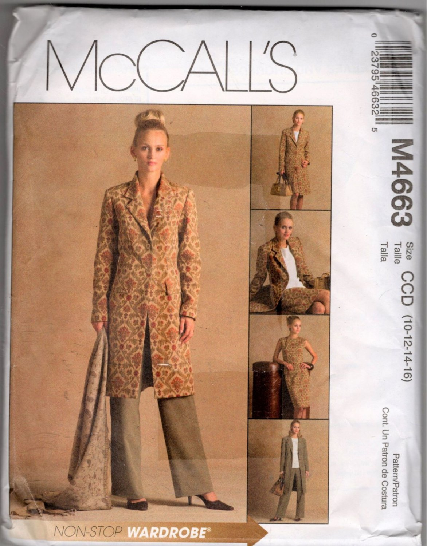 Misses Lined Jacket, Top, Pants, Skirt  Sewing Pattern  McCalls 4663 Size 10, 12, 14, 16   Uncut