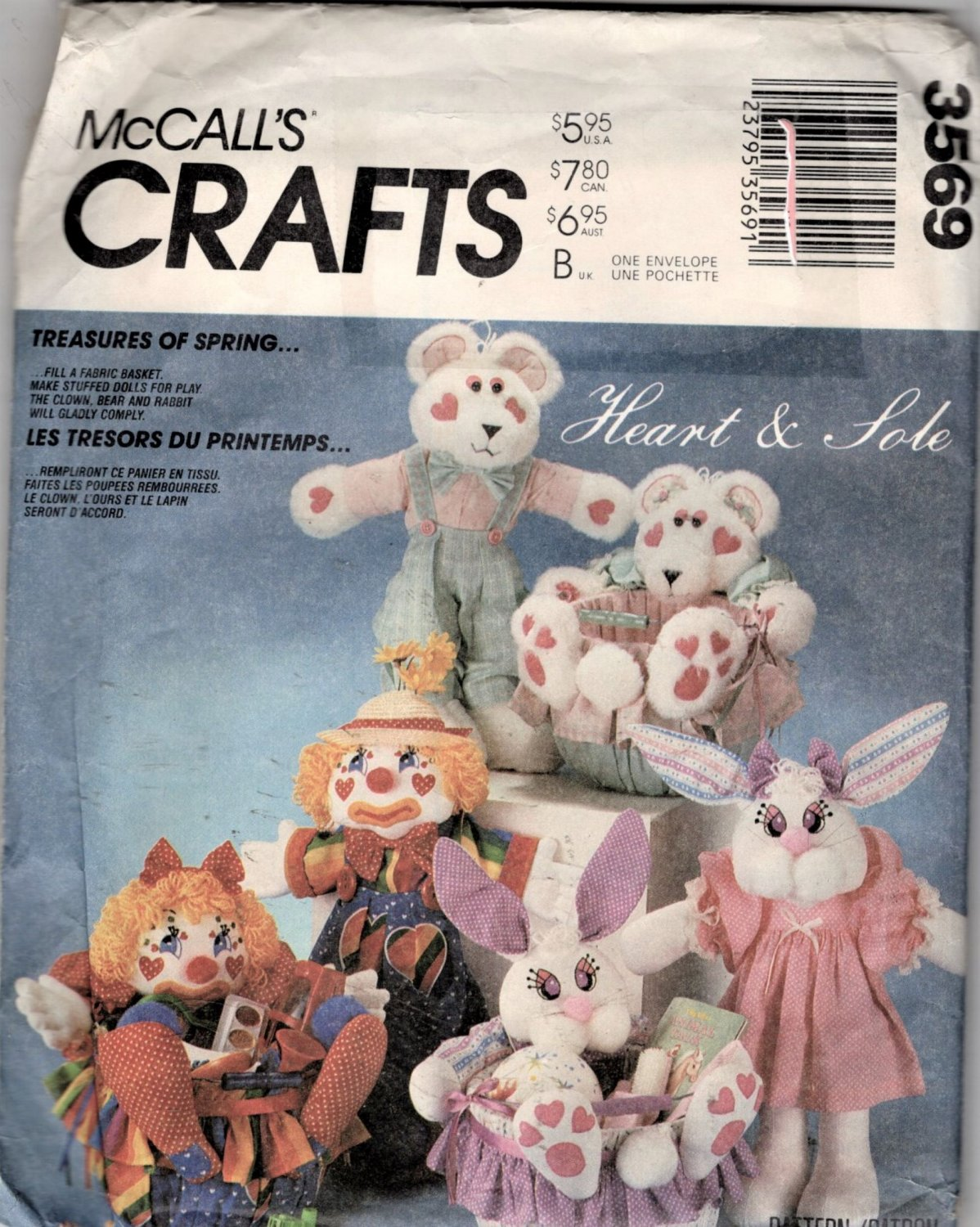 Stuffed Clown, Bunny and Bear Dolls Sewing Pattern  with Cloths and Buckets McCalls 3569 Uncut