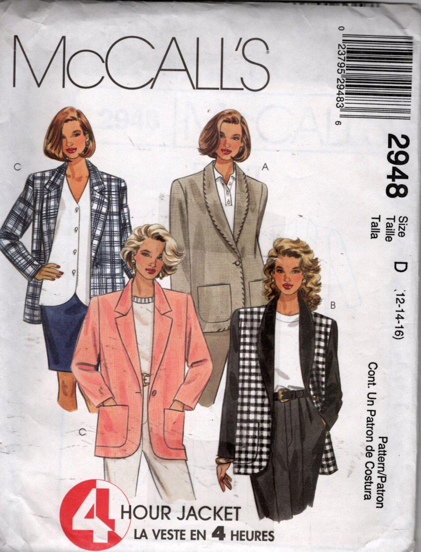Misses  4 Hour Jacket  Sewing Pattern  McCalls 2948 Size 12, 14, 16   Uncut