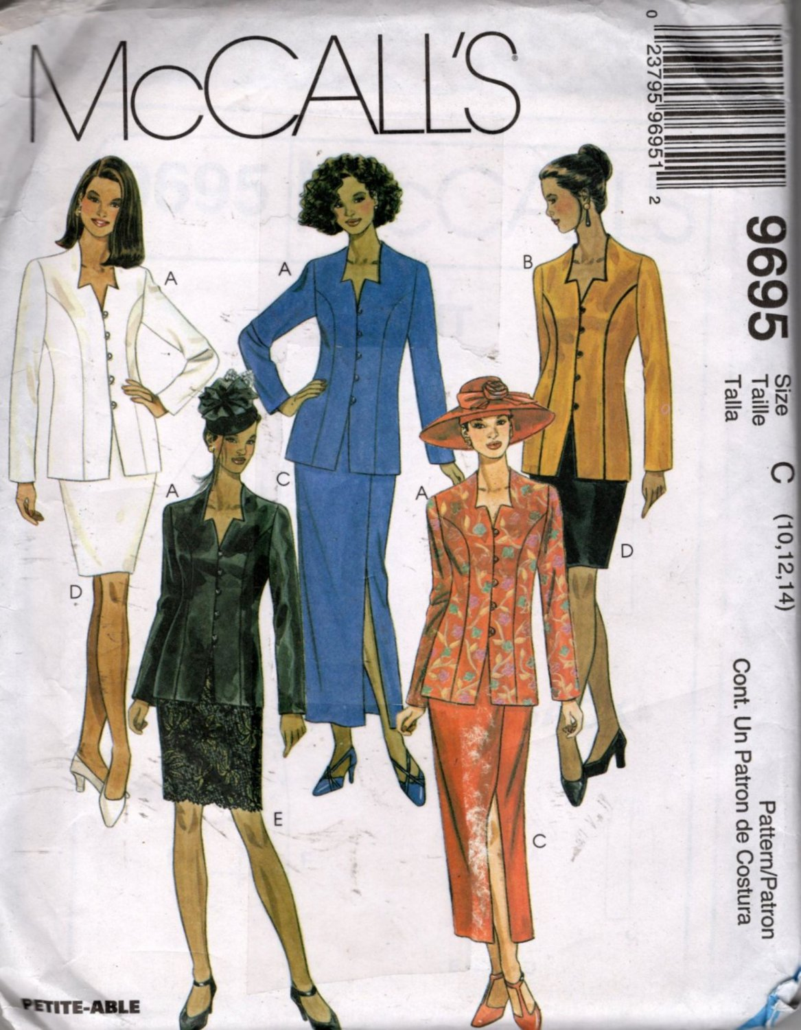 Misses Lined Jacket and Skirt Sewing Pattern  McCalls 9695 Size 10, 12, 14  Uncut