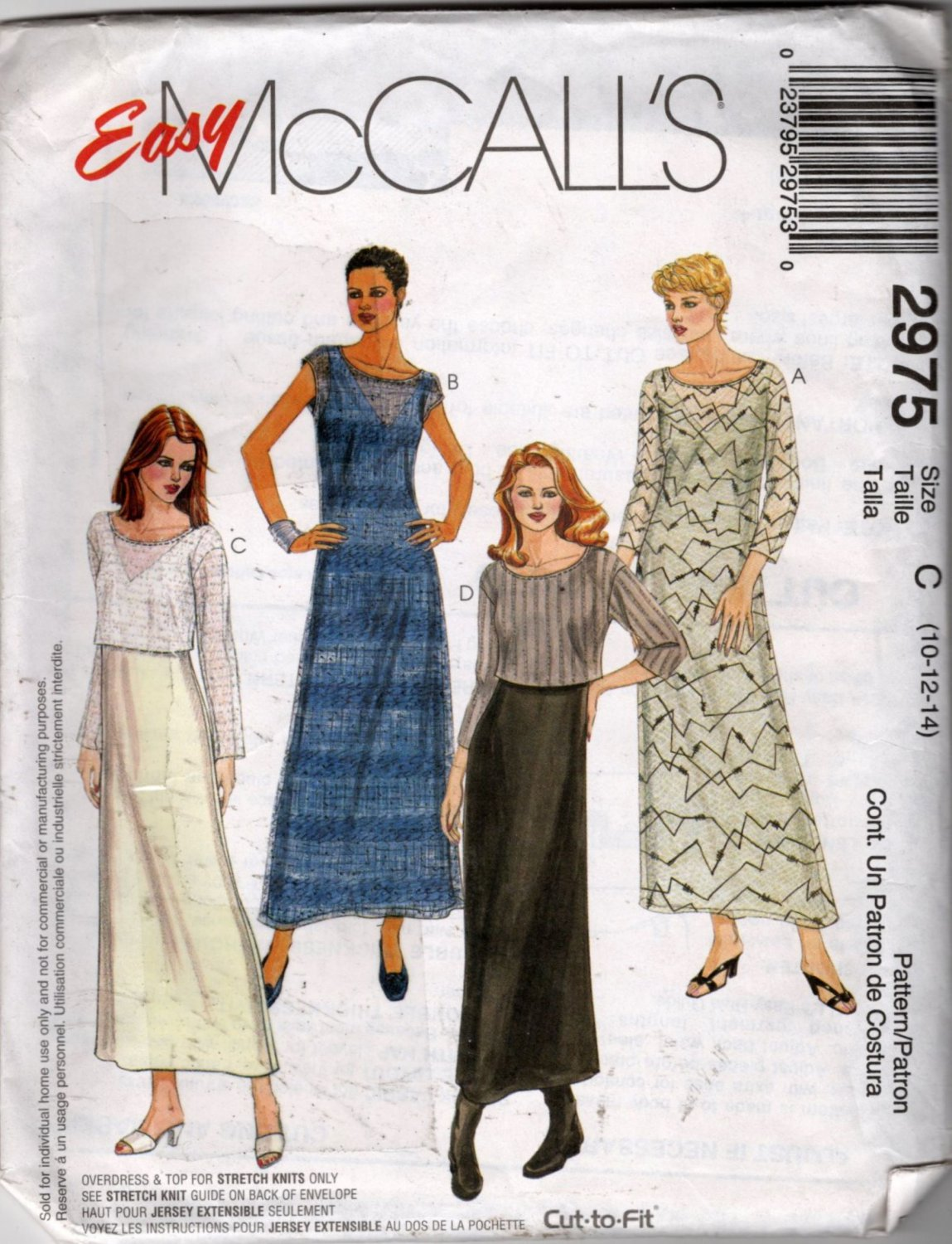Misses Dress, Overdress and Top Sewing Pattern  McCalls 2975  Size 10, 12, 14  Uncut
