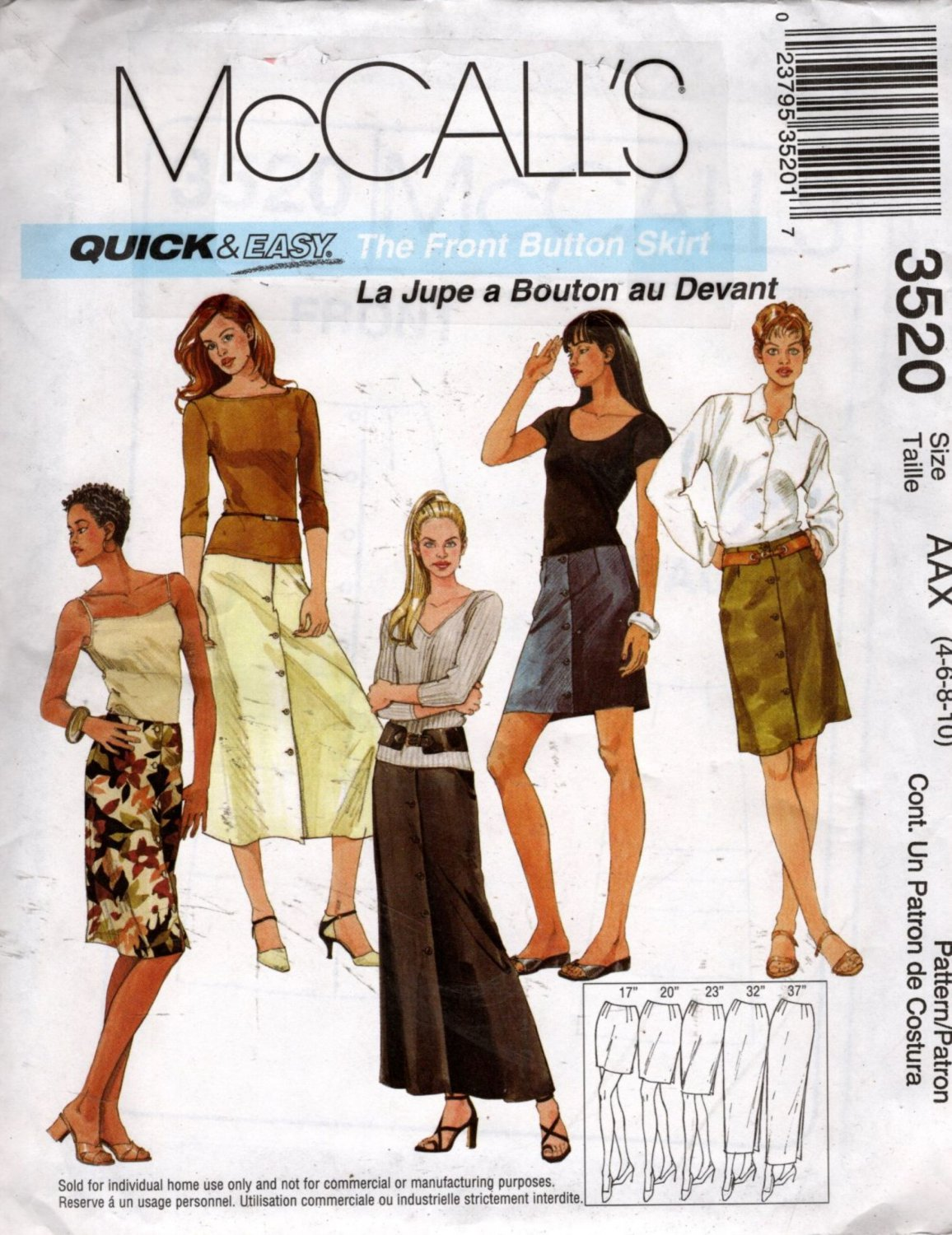Misses Front Buttoned Skirt Sewing Pattern Quick and Easy  McCalls 3520 Size 4 6 8 10  Uncut