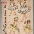 Vintage Girls Pinafore Dress Sundress Sewing Pattern Sz 4 Simplicity 2437 Uncut