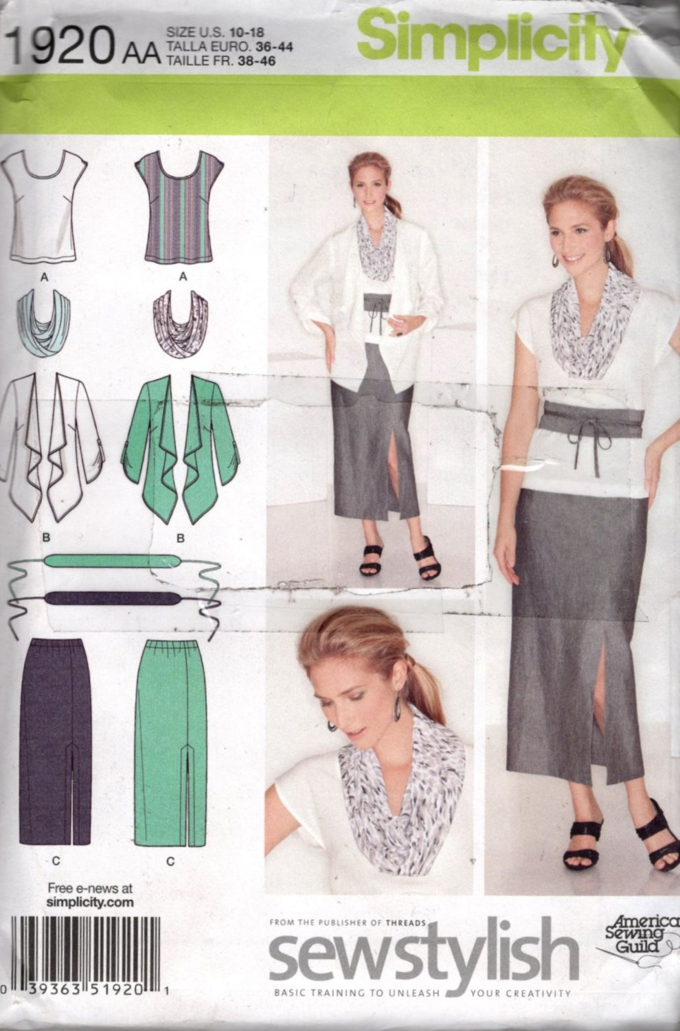 Misses Skirt, Top, Jacket, Scarf and Belt Sewing Pattern, Simplicity 1920 Size 10 12 14 16 18 Uncut