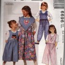 Girls  Jumper, Split Skirt Jumper, Jumpsuit Detachable Collar Sewing Pattern  McCalls 6696 Uncut