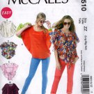 Misses Easy  Top and Be;t Sewing Pattern   McCalls 6510 Size 16 18 20 22 24 26  Uncut