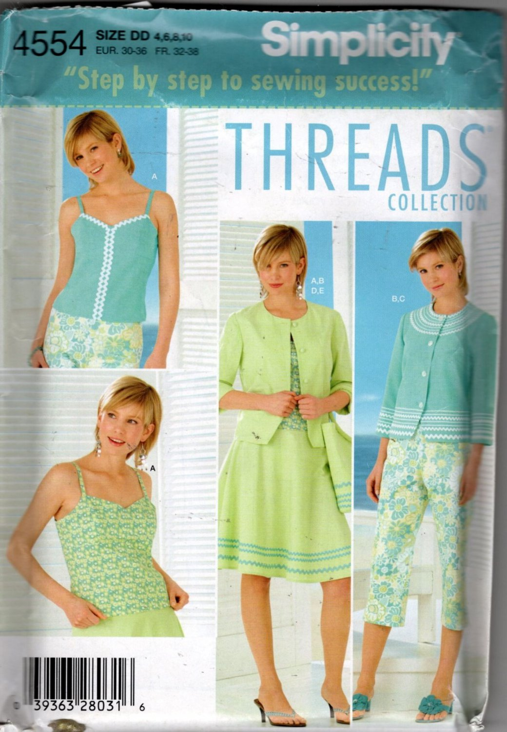Misses Top, Jacket, Skirt, Capri & Bag  Pattern Thread Collection Simplicity 4554 Size 4 6 8 10