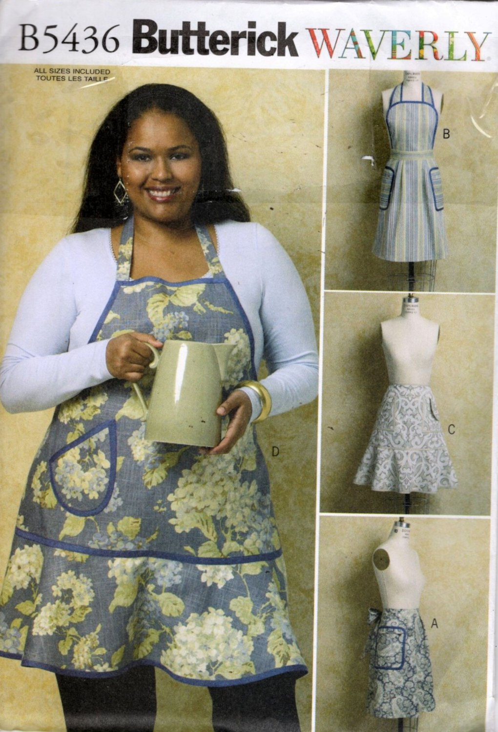 Misses  Full Bib and Half Apron Sewing Pattern  Waverly Butterick 5436