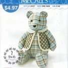 """18"""" Memory Teddy Bear with Vest Sewing Pattern McCalls It's Sew Simple L9547 Uncut"""