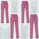 Ladies Pink Lounge Pants & White Trim Top Woman 2PC Pyjamas Size 8 10 12 18