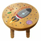 Rocket Personalised Child Solid Wooden Colourful Rocket Stool  - Gift Birthday