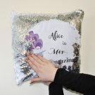 Personalised Sequins Cushion  Cover  White & Silver Mermaid Design