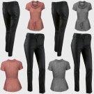Ladies Black Skinny Fit Wax Jeans and Casual Self Tie Top Black & White - Size UK  12  14