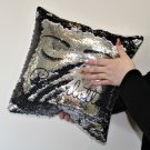 Personalised Sequin Cushion Cover Glitter Black & Silver Fashion Gift   For Sister Mother Daughter