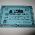 1964 Stocks & Bonds 3M Bookshelf Board Game Piece: single Valley Power & Light 100 Shares stock card