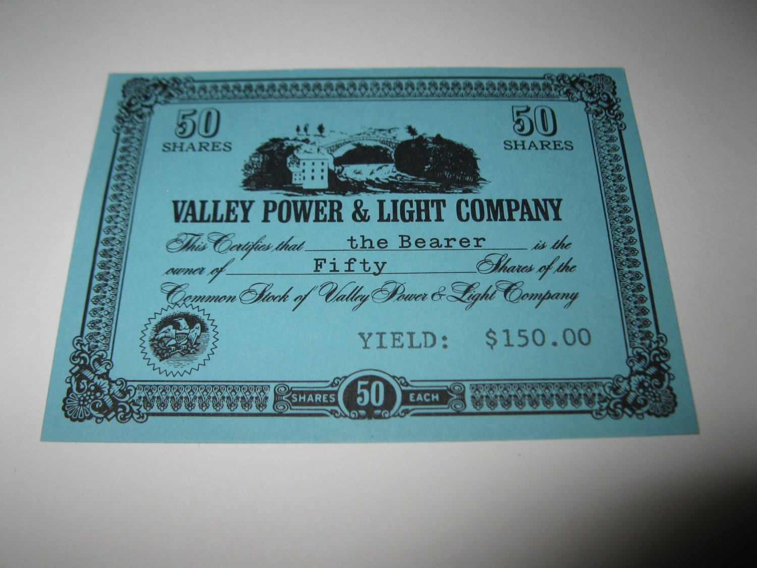 1964 Stocks & Bonds 3M Bookshelf Board Game Piece: single Valley Power & Light 50 Shares stock card
