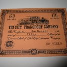 1964 Stocks & Bonds 3M Bookshelf Board Game Piece: single Tri-City Transport 50 Shares stock card
